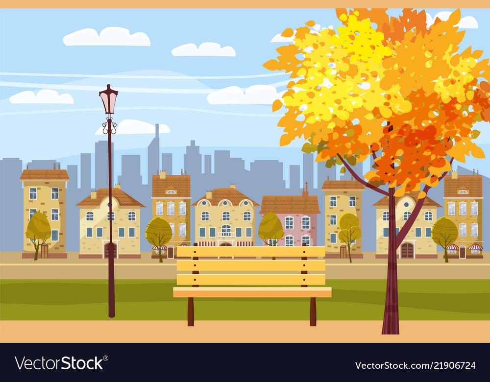 Autumn landscape in the park city houses