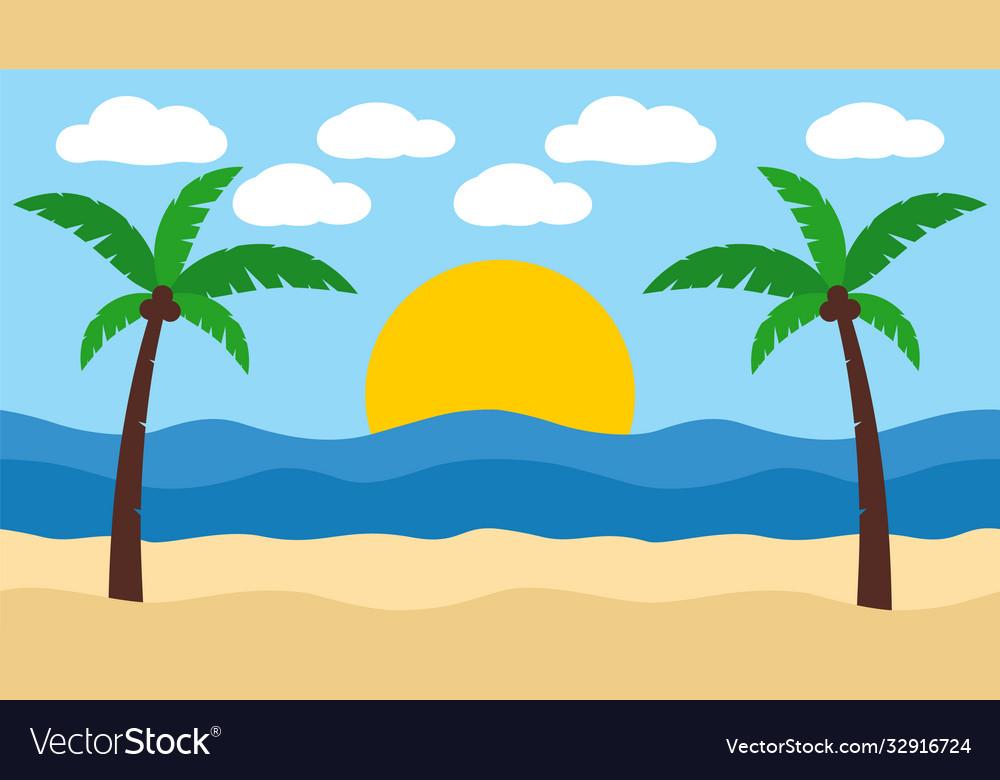 Beach landscape tropical island palm tree