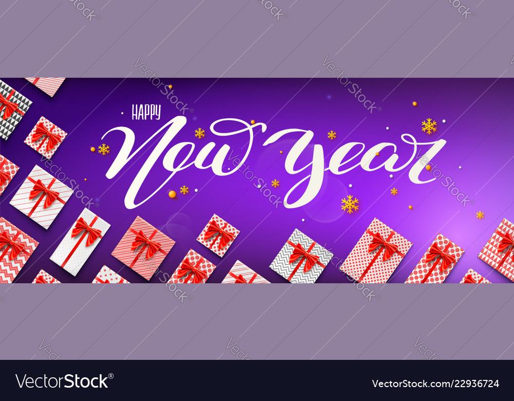 Calligraphic handwritten lettering happy new year