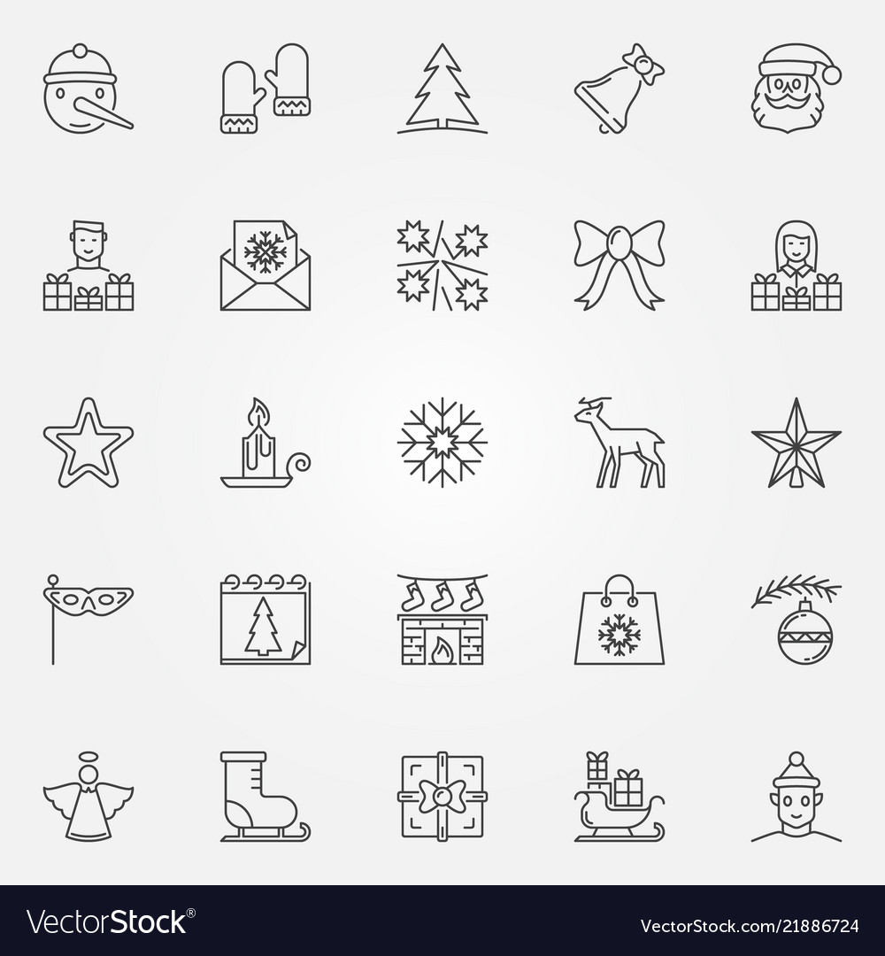 Christmas outline icons set new year line