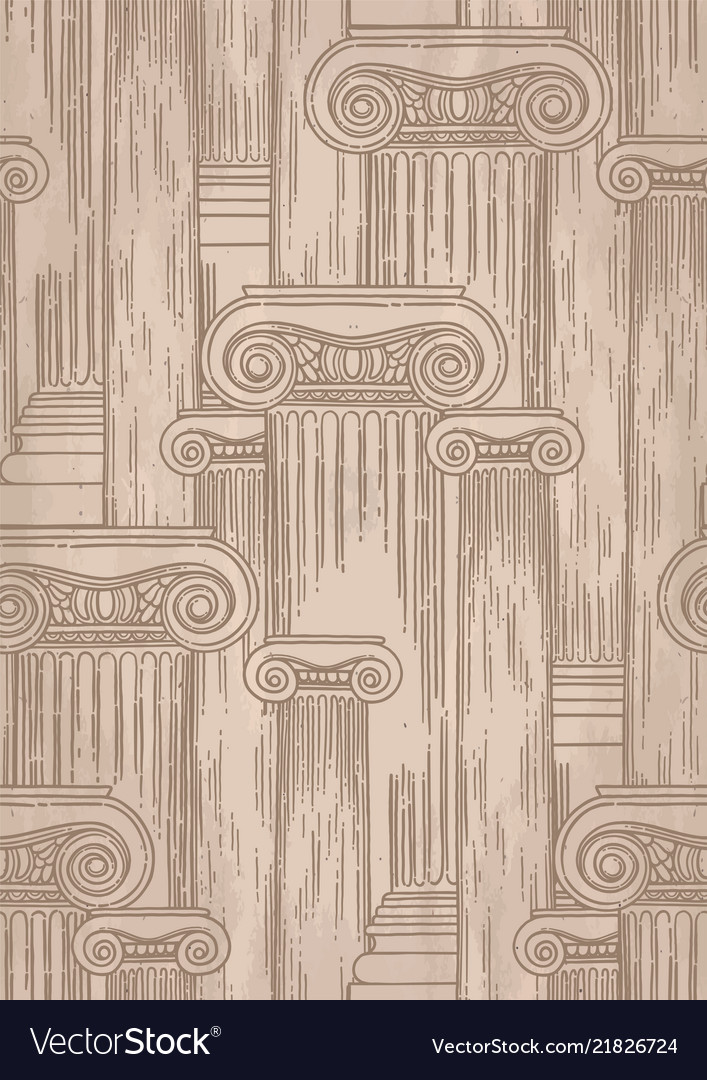 Classical pattern of ancient columns drawn in