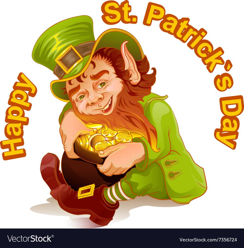 Dwarf embraced pot of gold Patricks Day