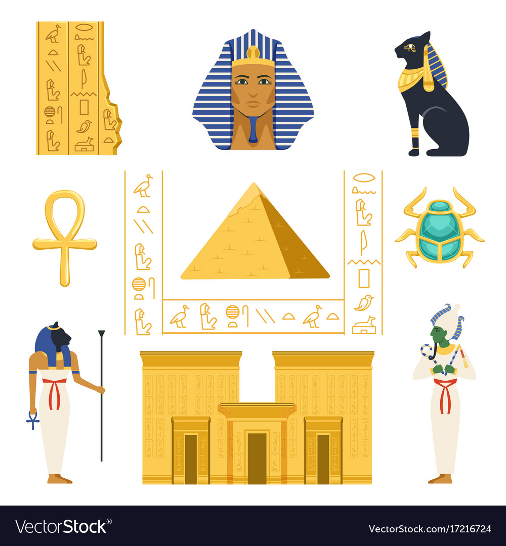 Egypt set egyptian ancient symbols colorful