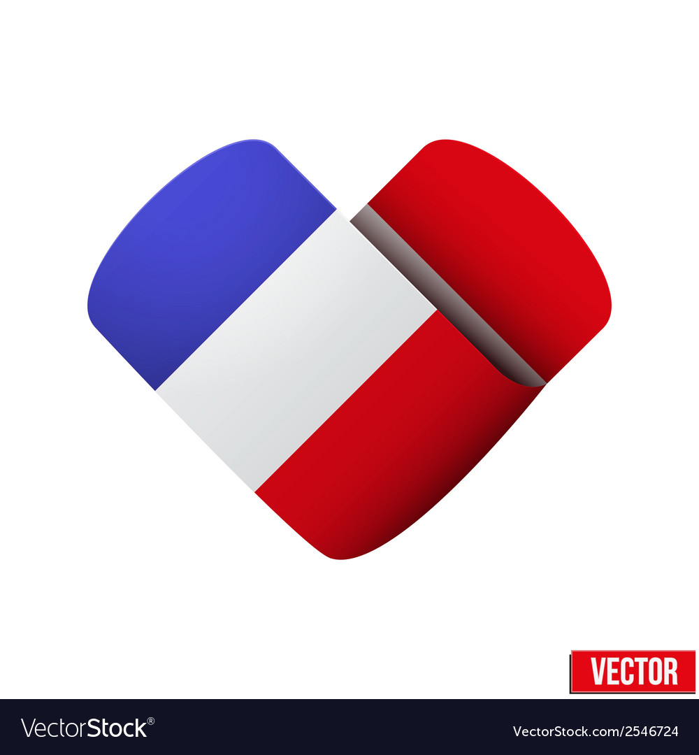 Flag icon in the form of heart I love France