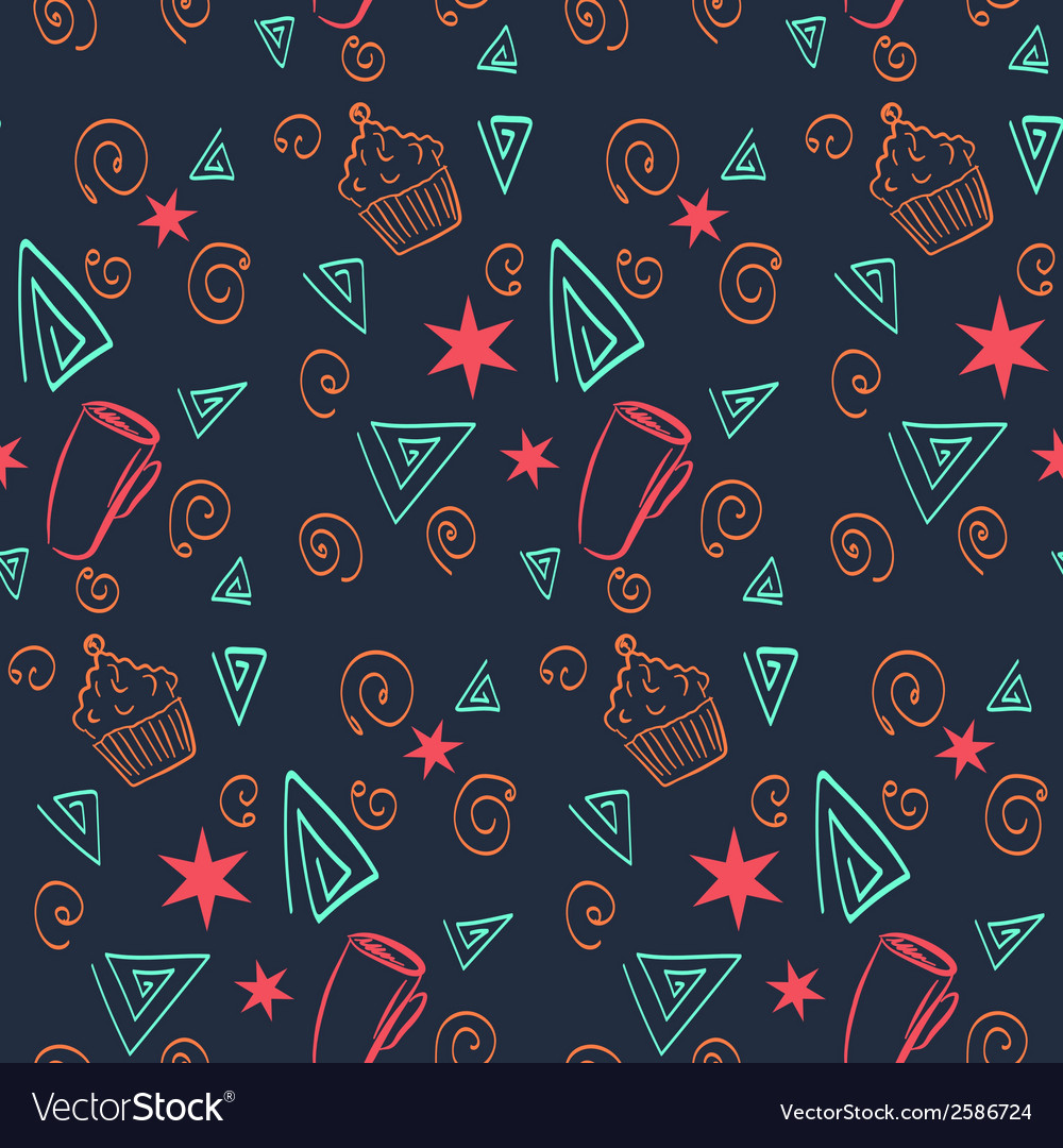 Food and drink seamless pattern