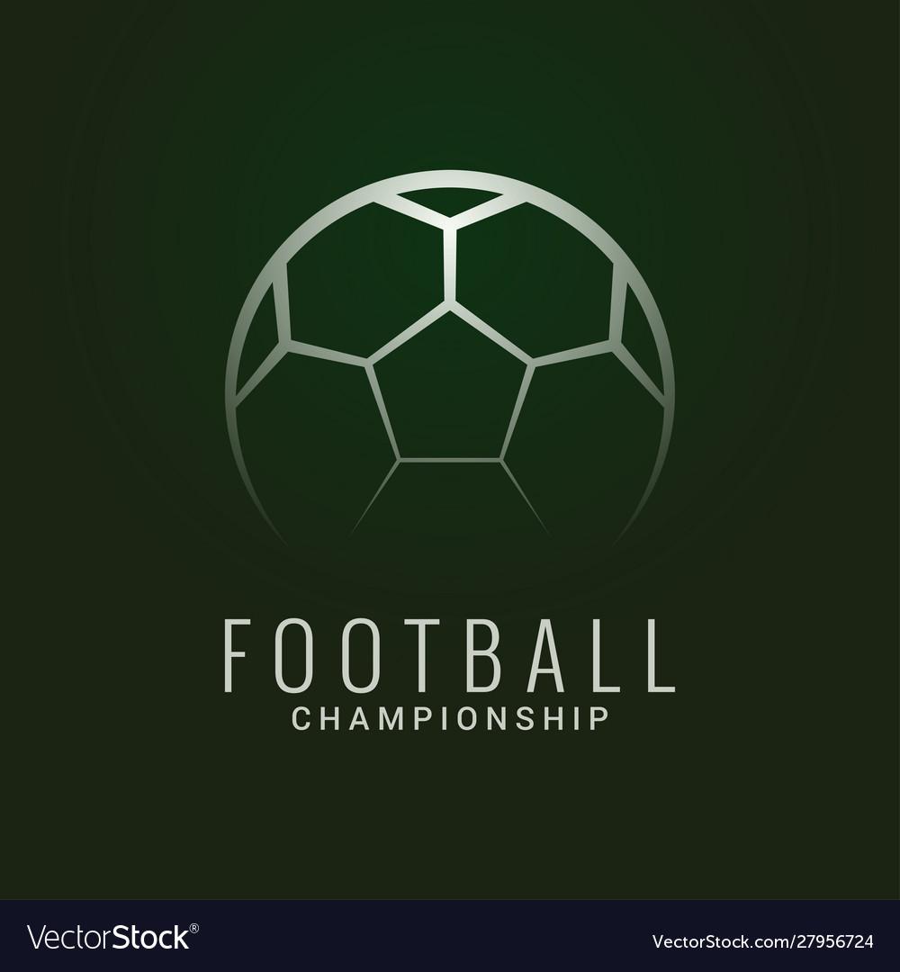 Football championship logo soccer ball dark green