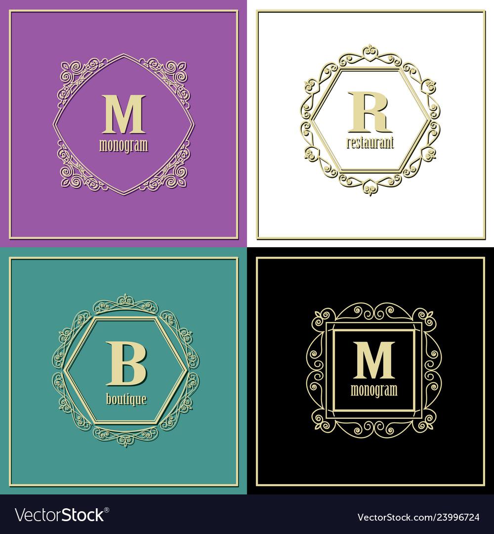 Luxury golden frames set monogram logo template