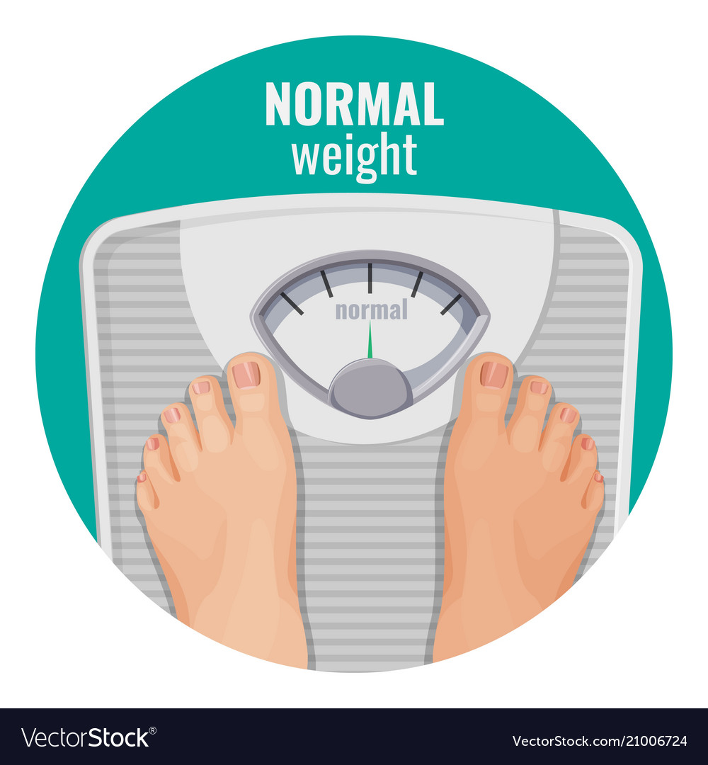 Normal weight human feet on scales isolated on