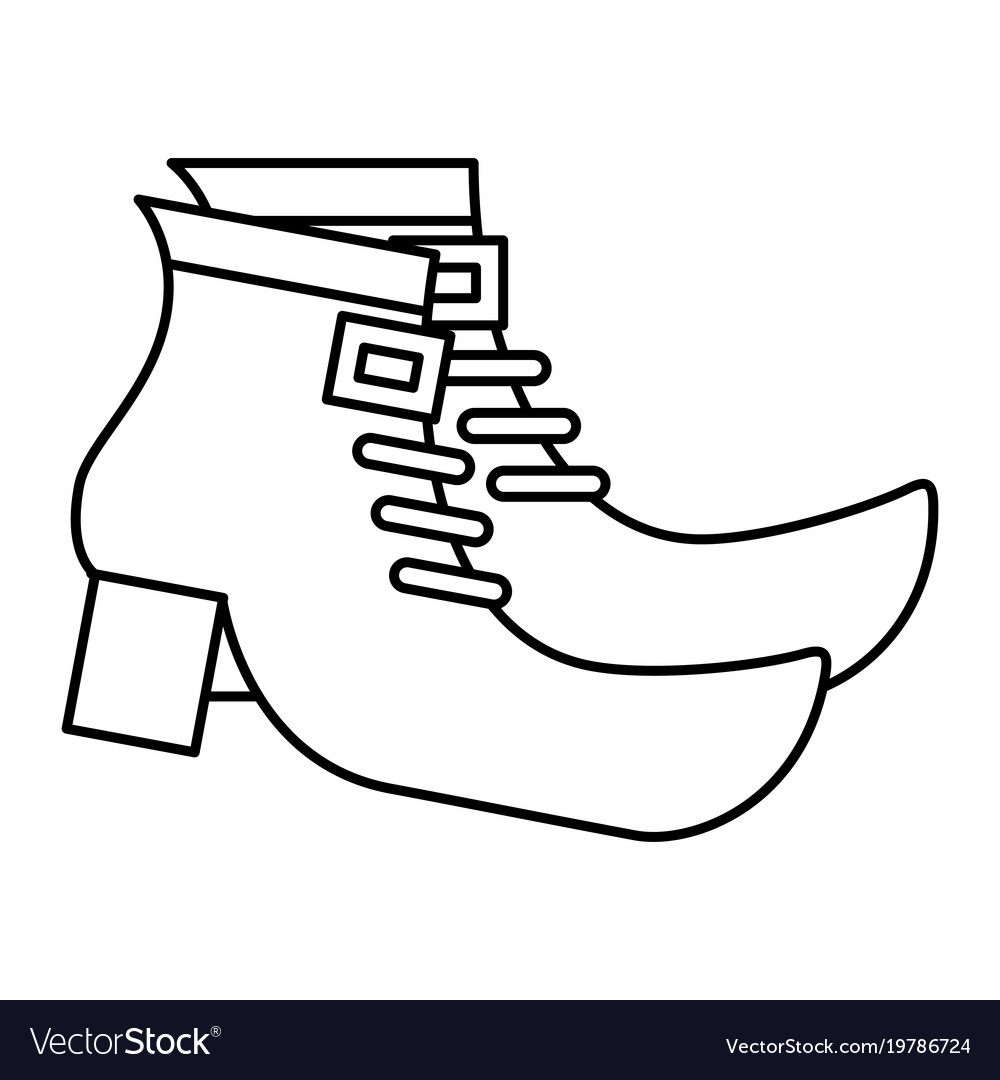 Pair Boot Shoes Of Leprechaun Outline Royalty Free Vector