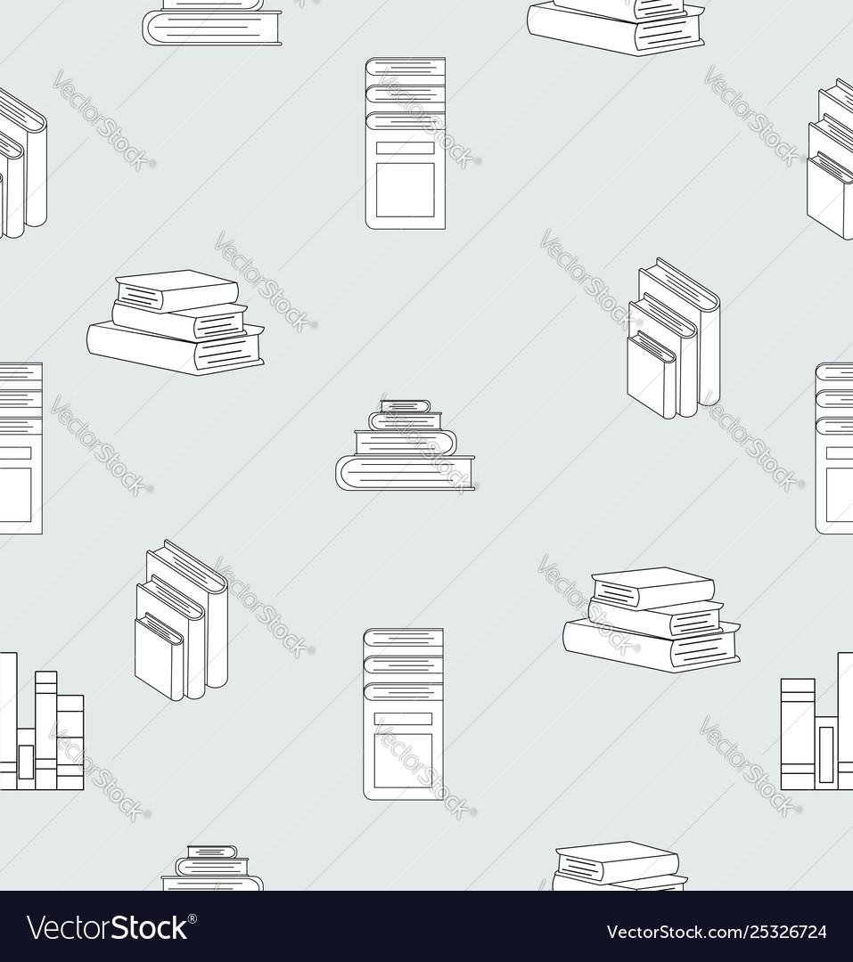 Stack books flat design seamless pattern
