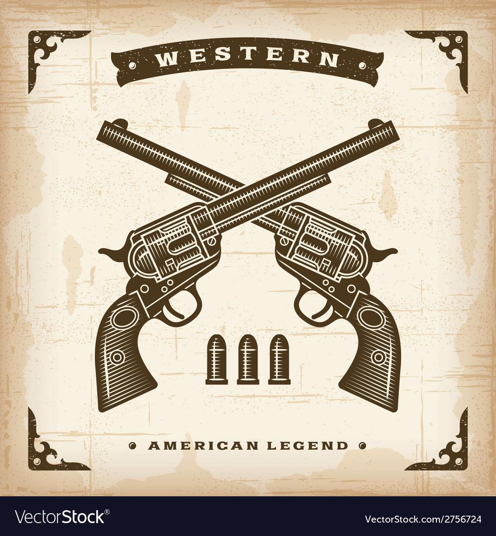 Vintage Western Revolvers vector image