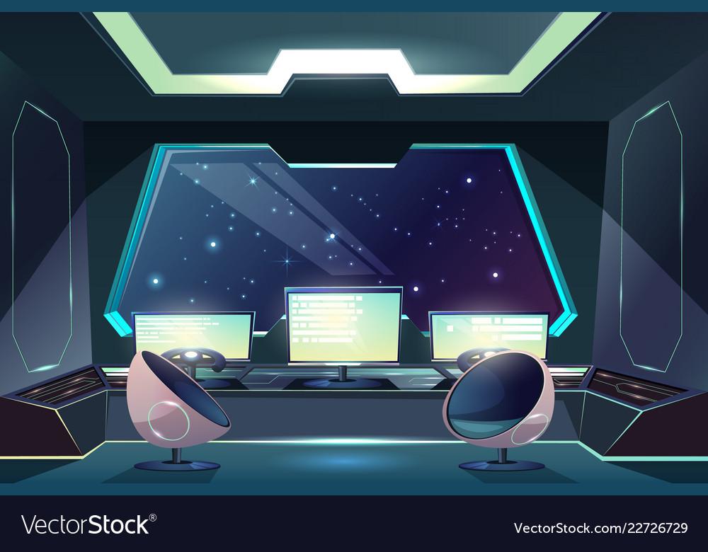 Alien spaceship pilot control panel cartoon