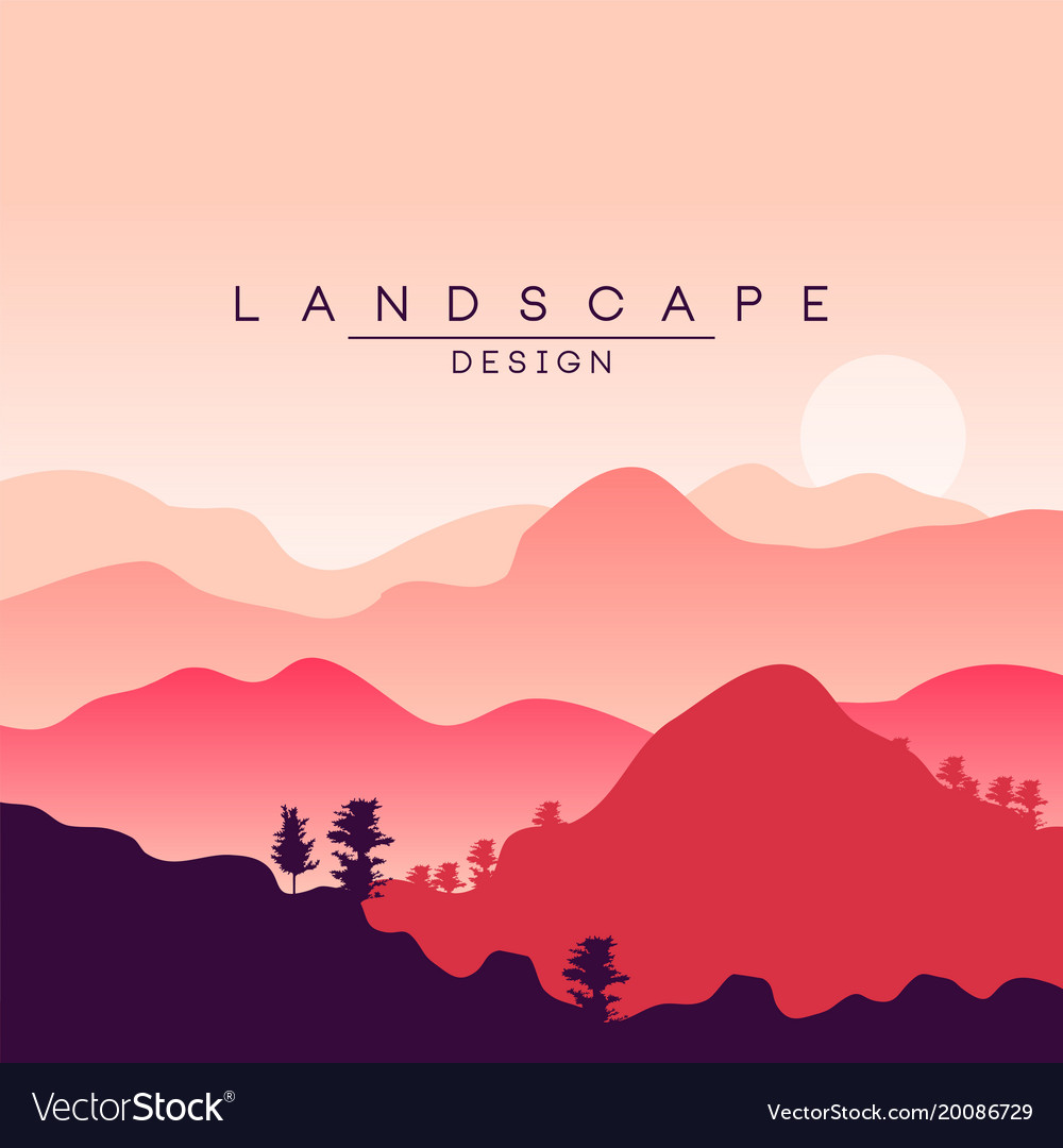Beautiful Peaceful Mountain Landscape At Sunset Vector Image