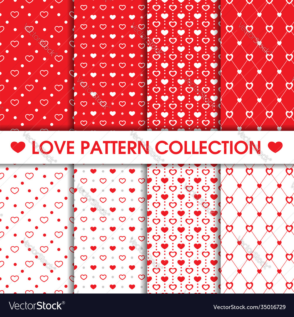 Collection heart dots seamless pattern