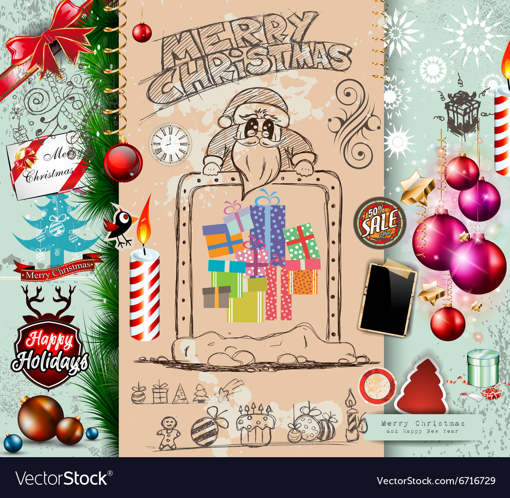 Collection of Christmas Elements doodles with