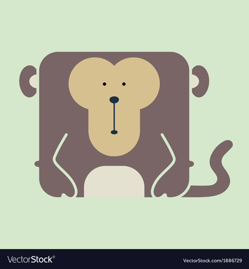 a5bc8ea13f14d Flat square icon of a cute monkey Royalty Free Vector Image