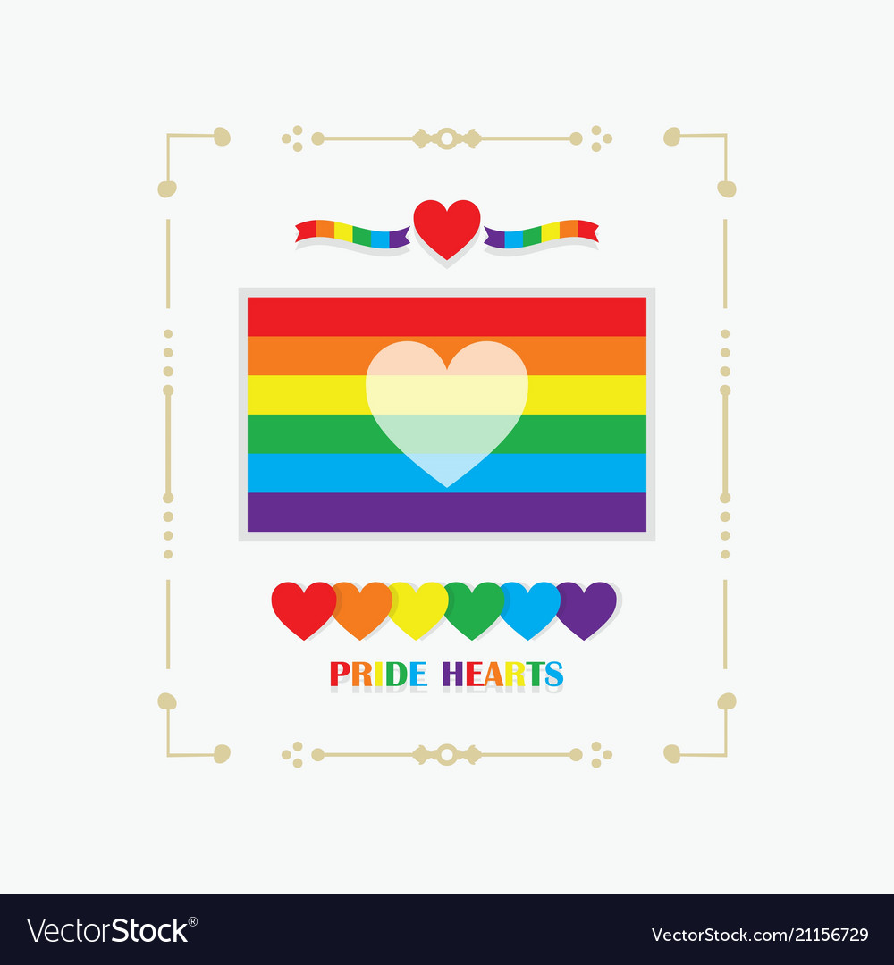 Frame rainbow pride flag with white heart emblem