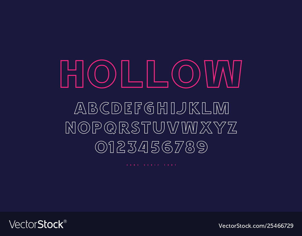 Hollow sans serif font in classic style