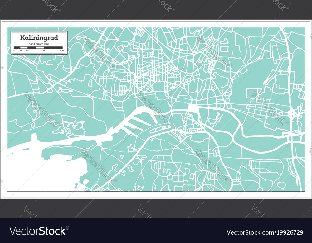 Kaliningrad Russia City Map In Retro Style Vector Image