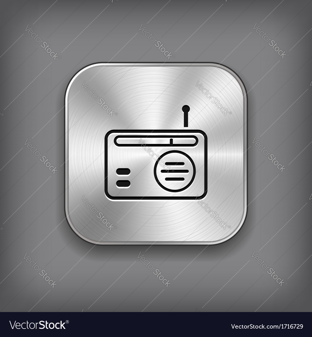 Radio icon - metal app button