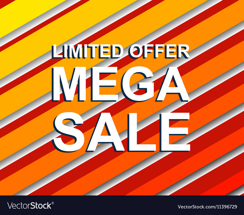 Red striped sale poster with LIMITED OFFER MEGA vector image