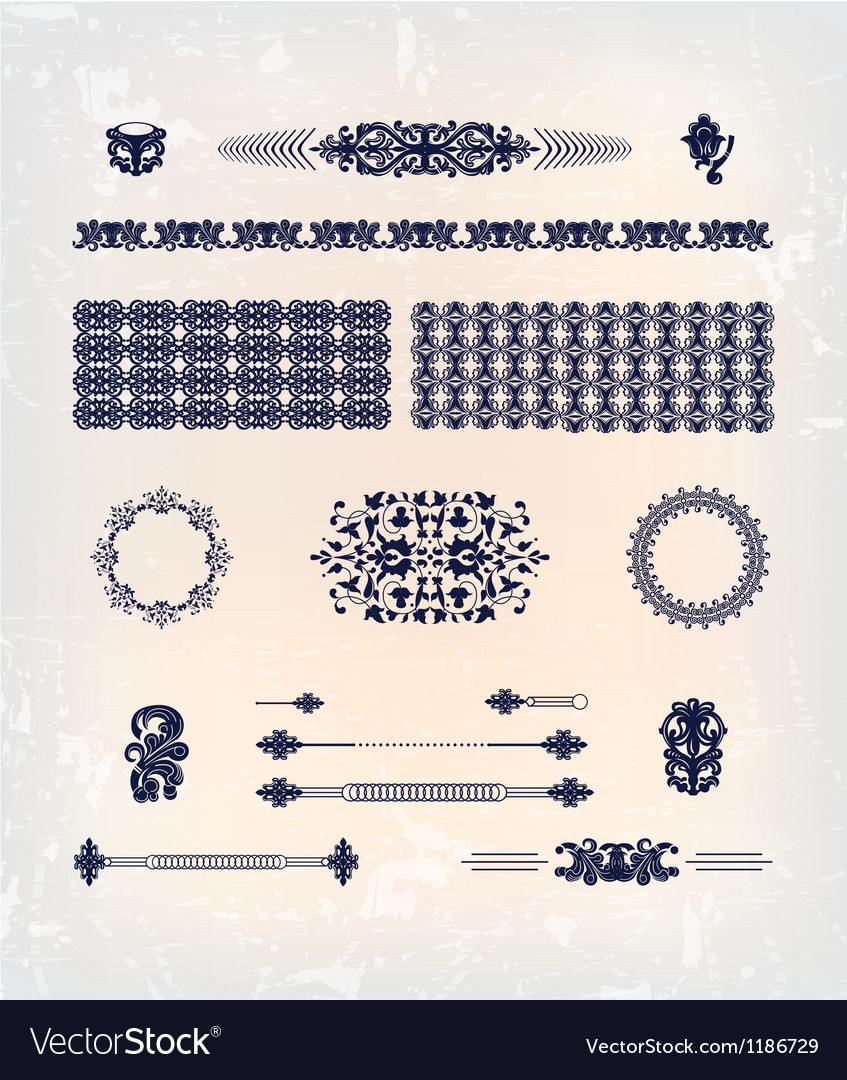 Set of abstract decor pattern design vector image