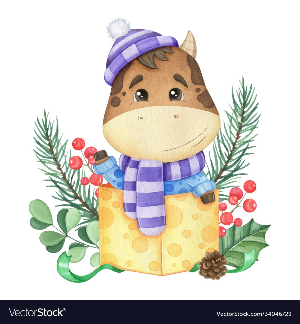Symbol new year 2021 cute bull in a gift