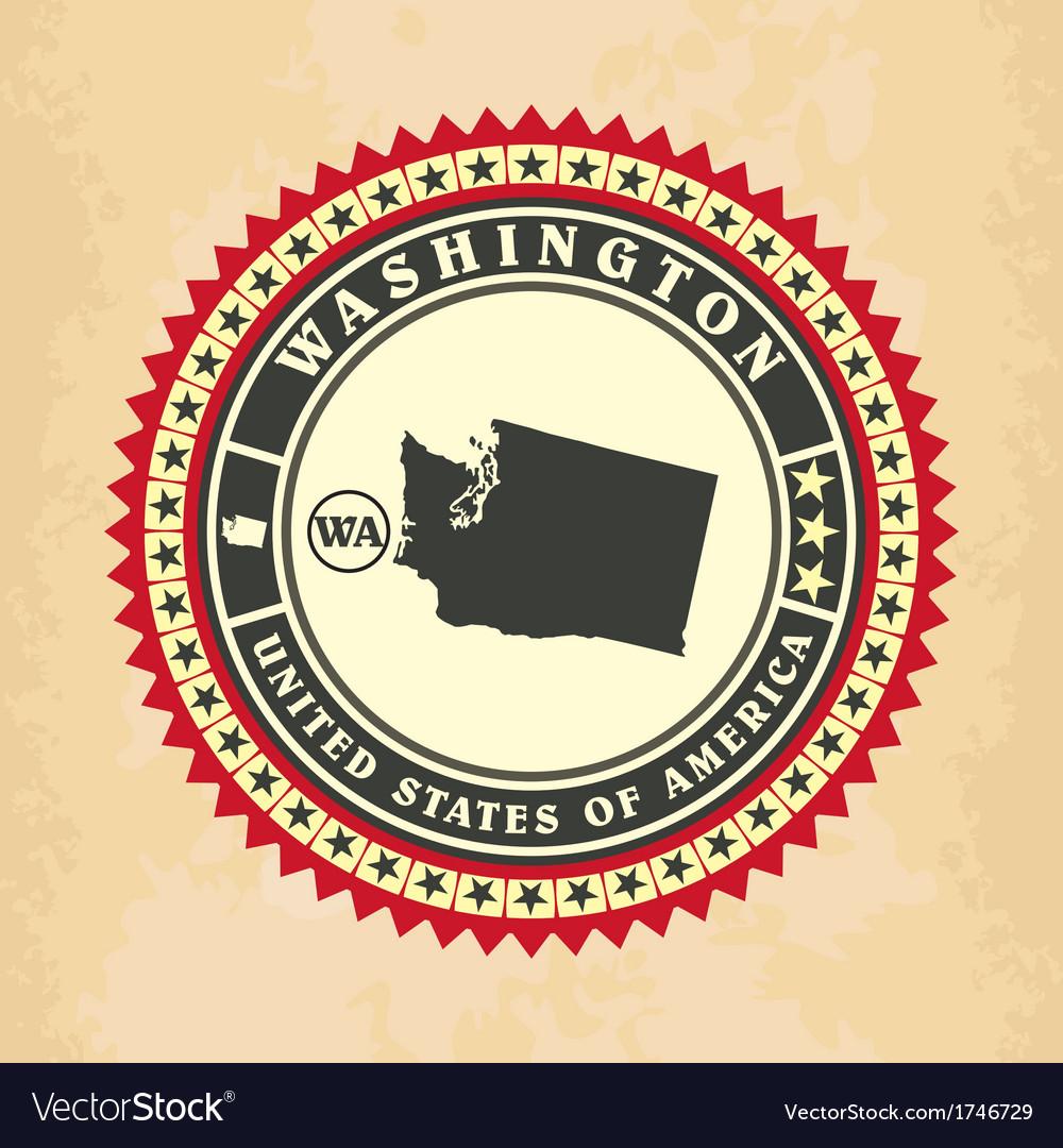 Vintage label-sticker cards of Washington