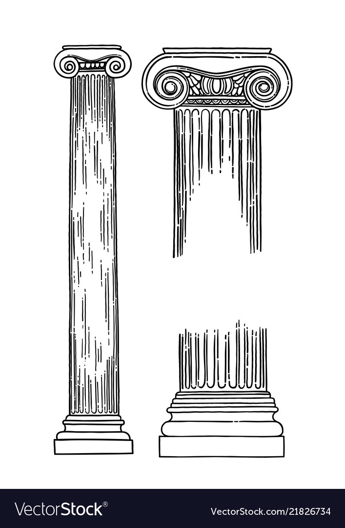 Antique ionic order columns drawn in engraving