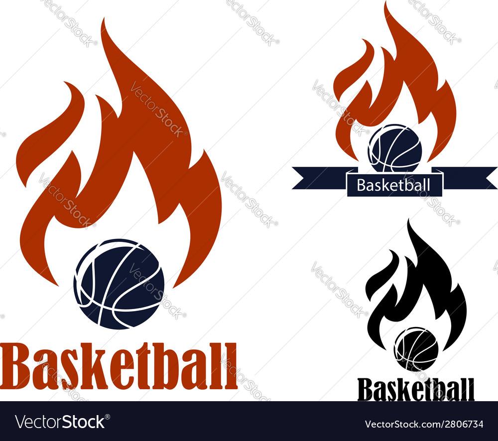 Basketball sport emblems