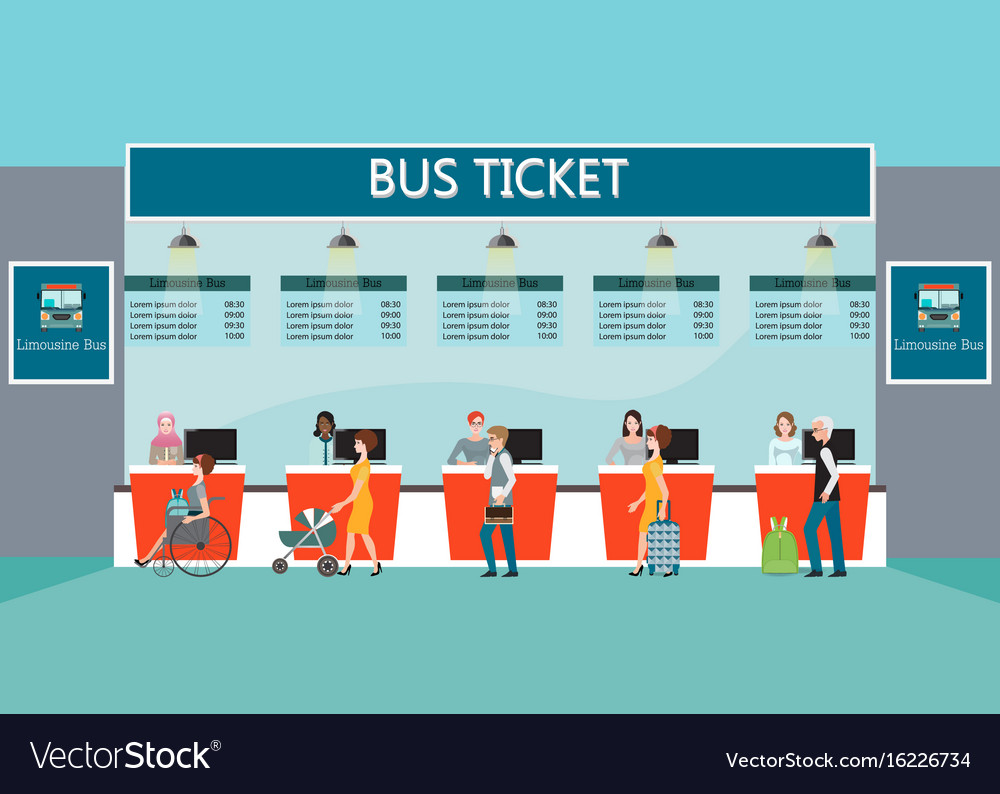 Bus terminal with people buying ticket at counter vector image