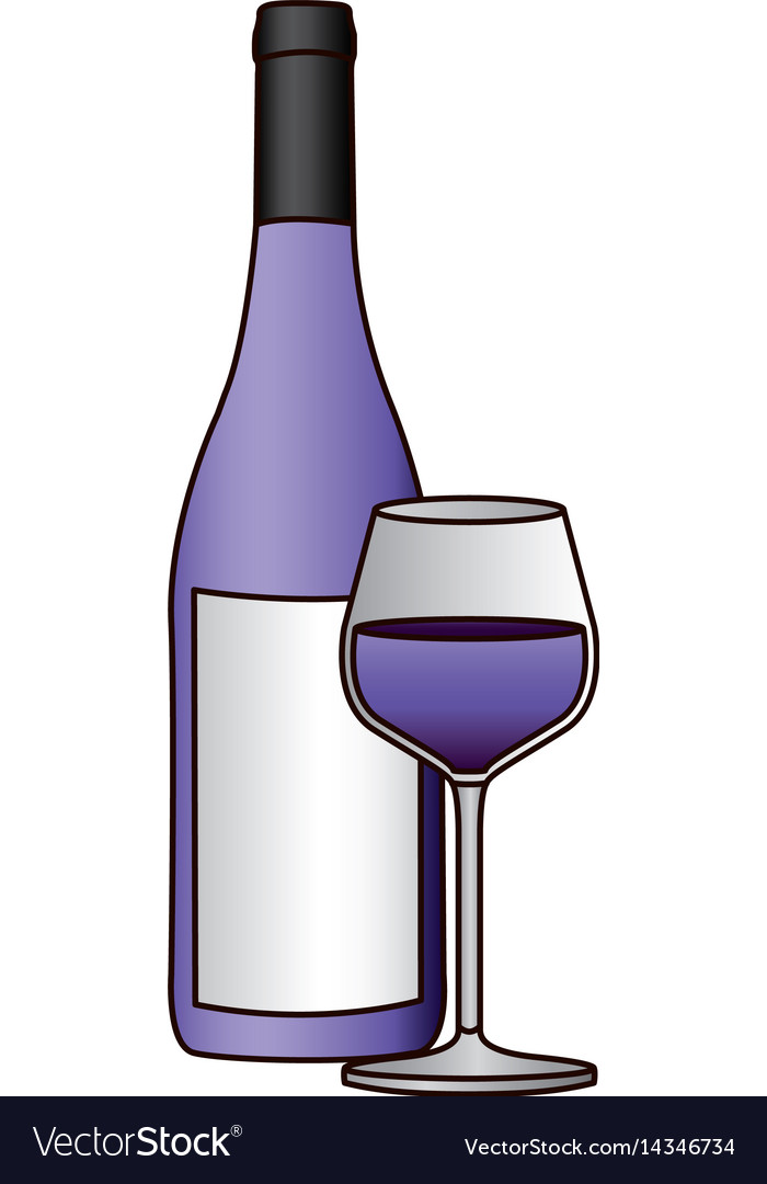 Colorful silhouette with bottle of purple wine and
