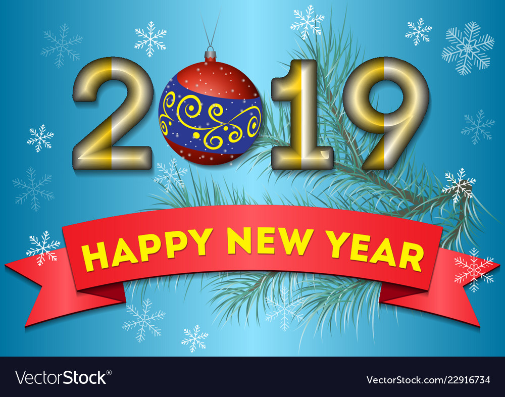 Festive greetings for the new year 2019 on a