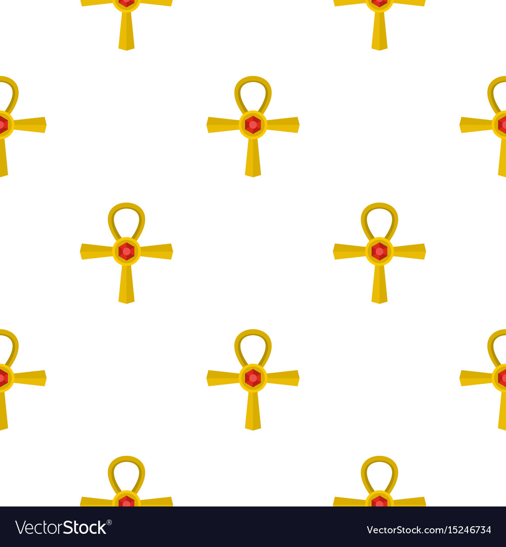 Golden ankh symbol pattern seamless