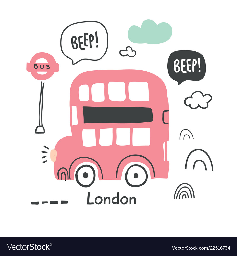 Hand drawn london red bus in scandinavian style