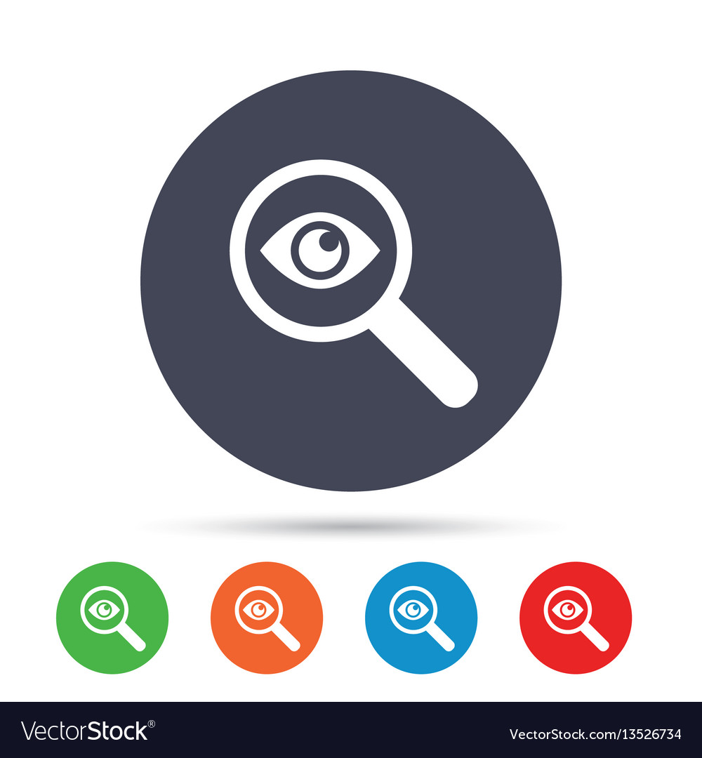 Investigate icon magnifying glass with eye