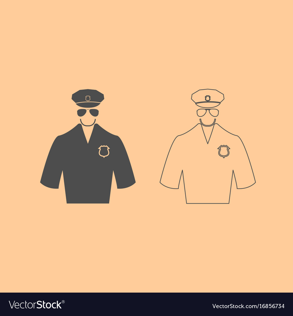 Police dark grey set icon vector image