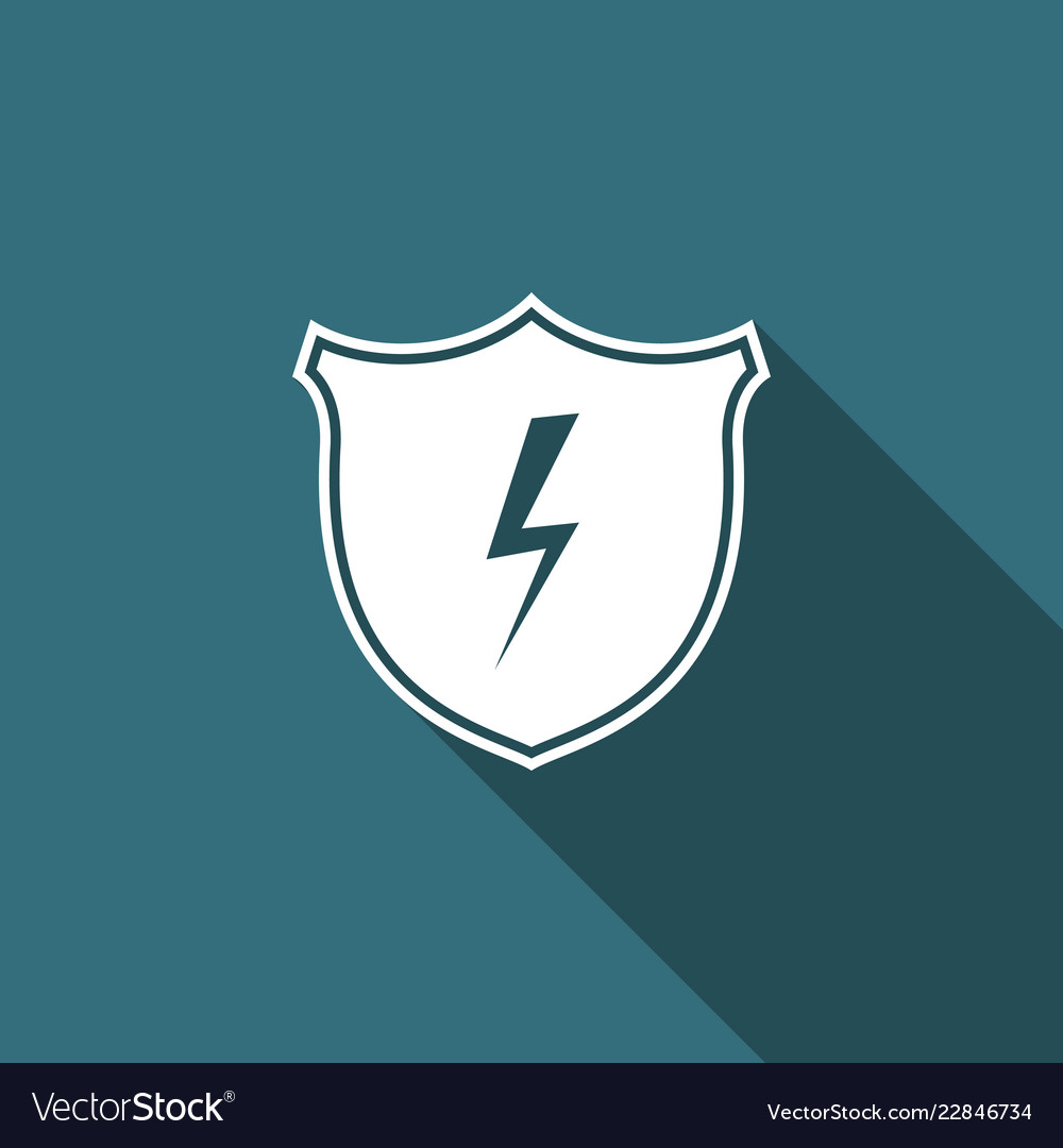Secure shield with lightning icon isolated