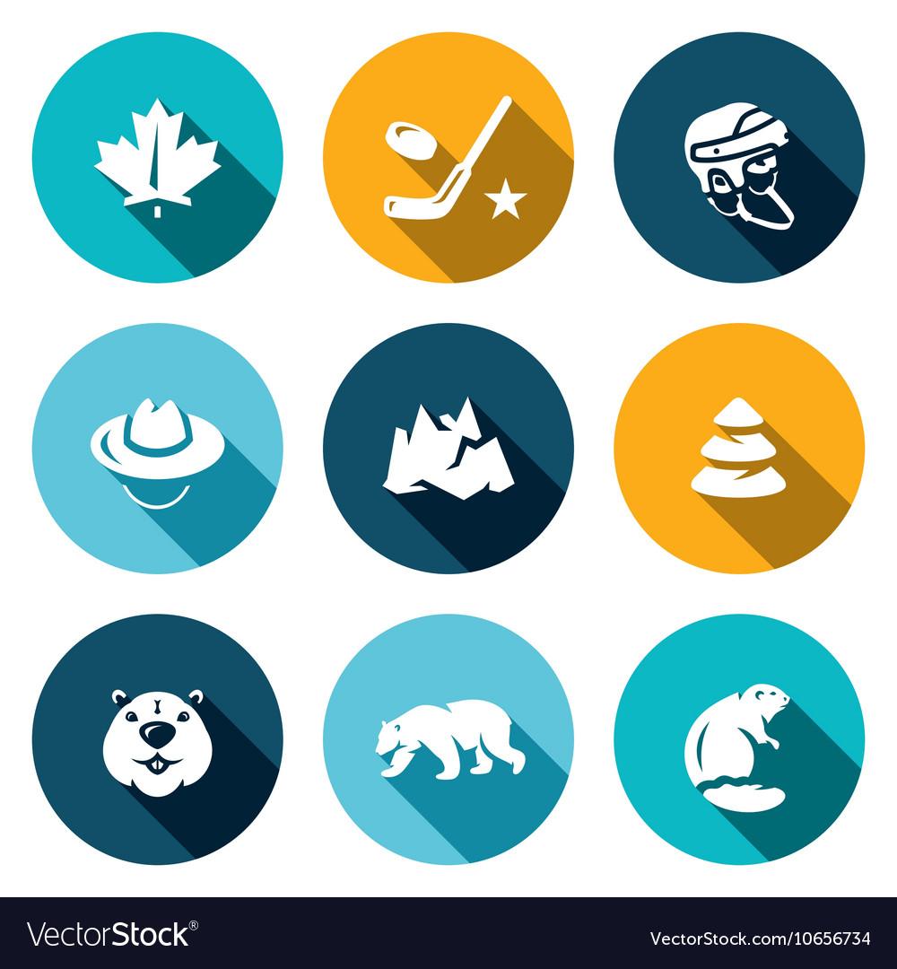 Set of Canada Icons Maple Leaf Hockey