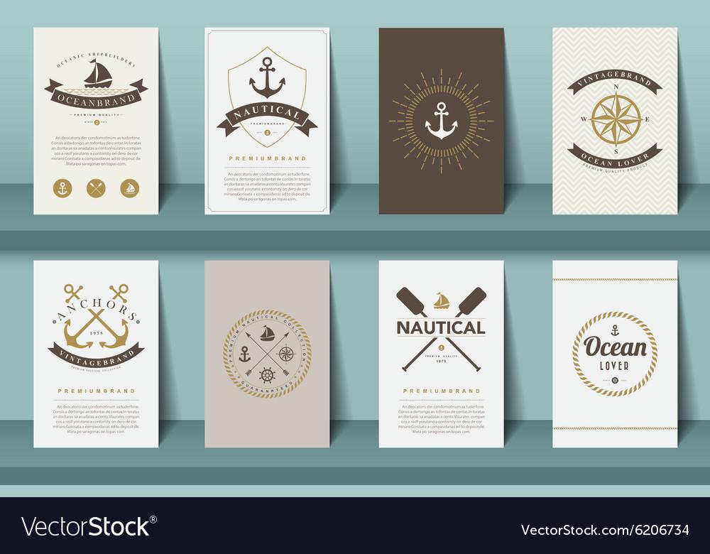 Set of nautical brochures in vintage style