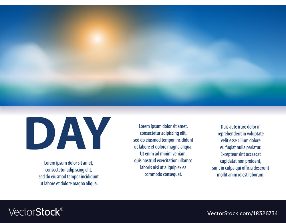 Sunny day poster design banner with sun clouds