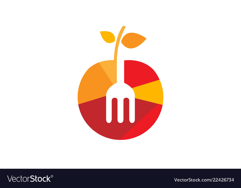 Tasty fruit apple fork logo