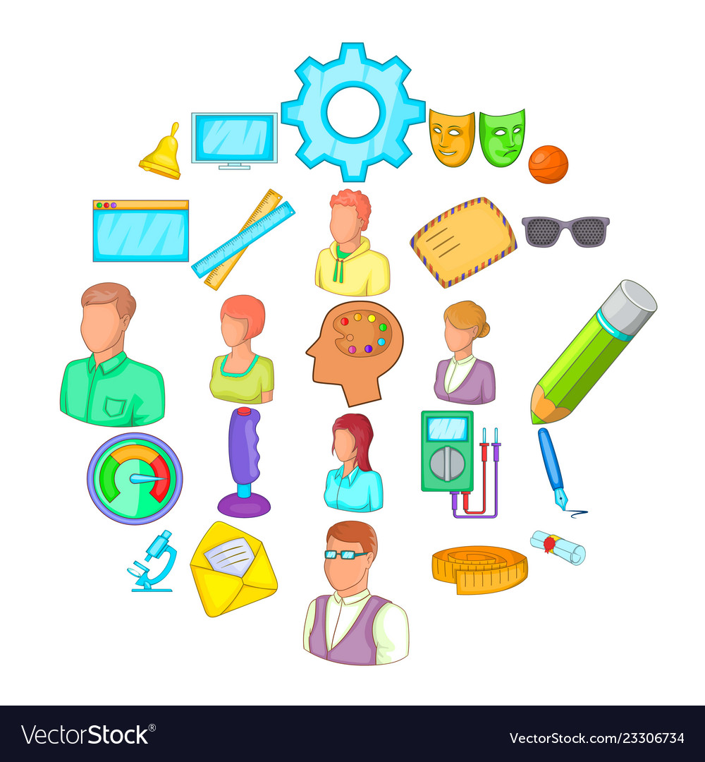 Teacher training icons set cartoon style