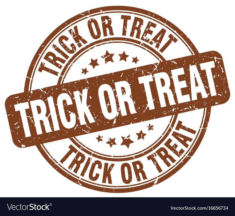 Trick or treat brown grunge round vintage rubber