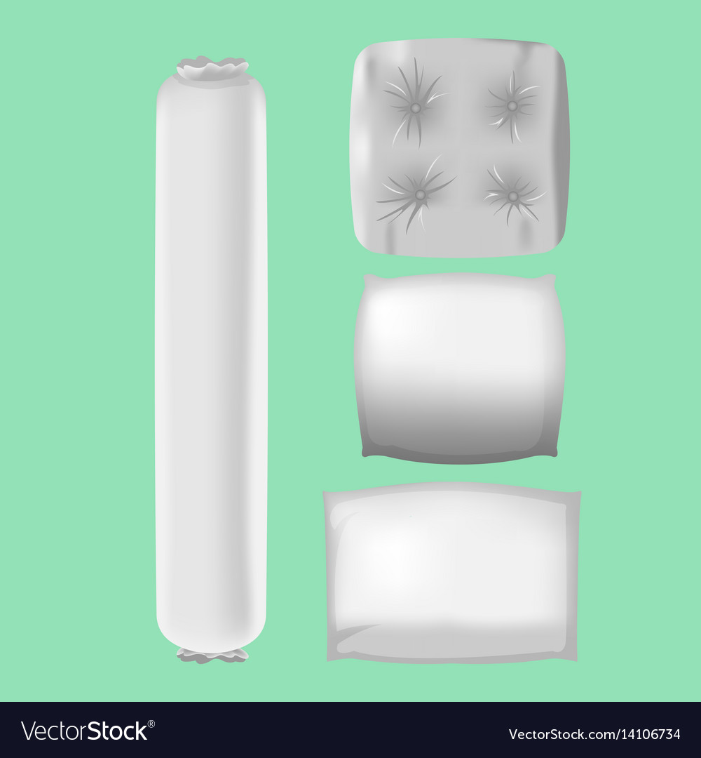 White pillows mock up collection set vector image