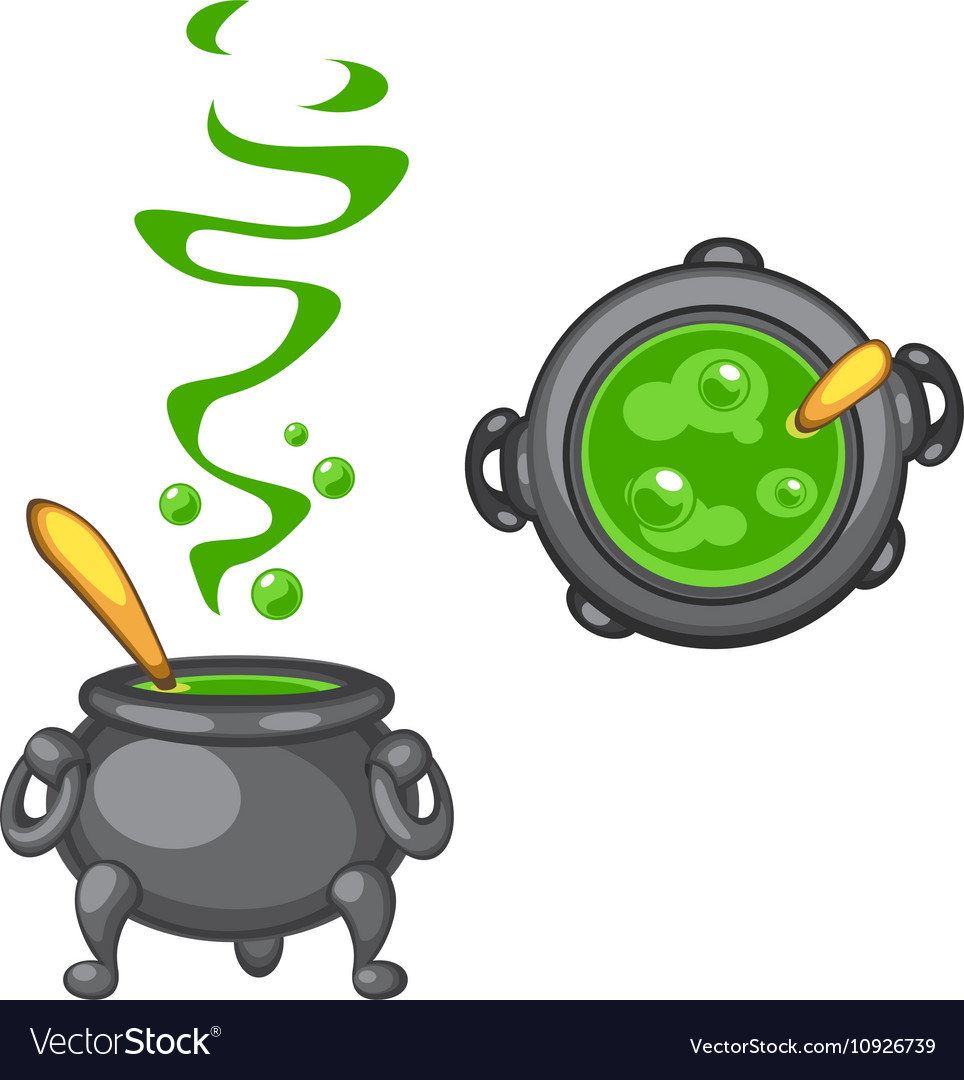 Cartoon cauldron with green boiling poison and