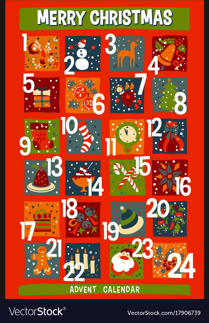 Christmas Advent Calendar.Cartoon Christmas Advent Calendar With Funny Icons