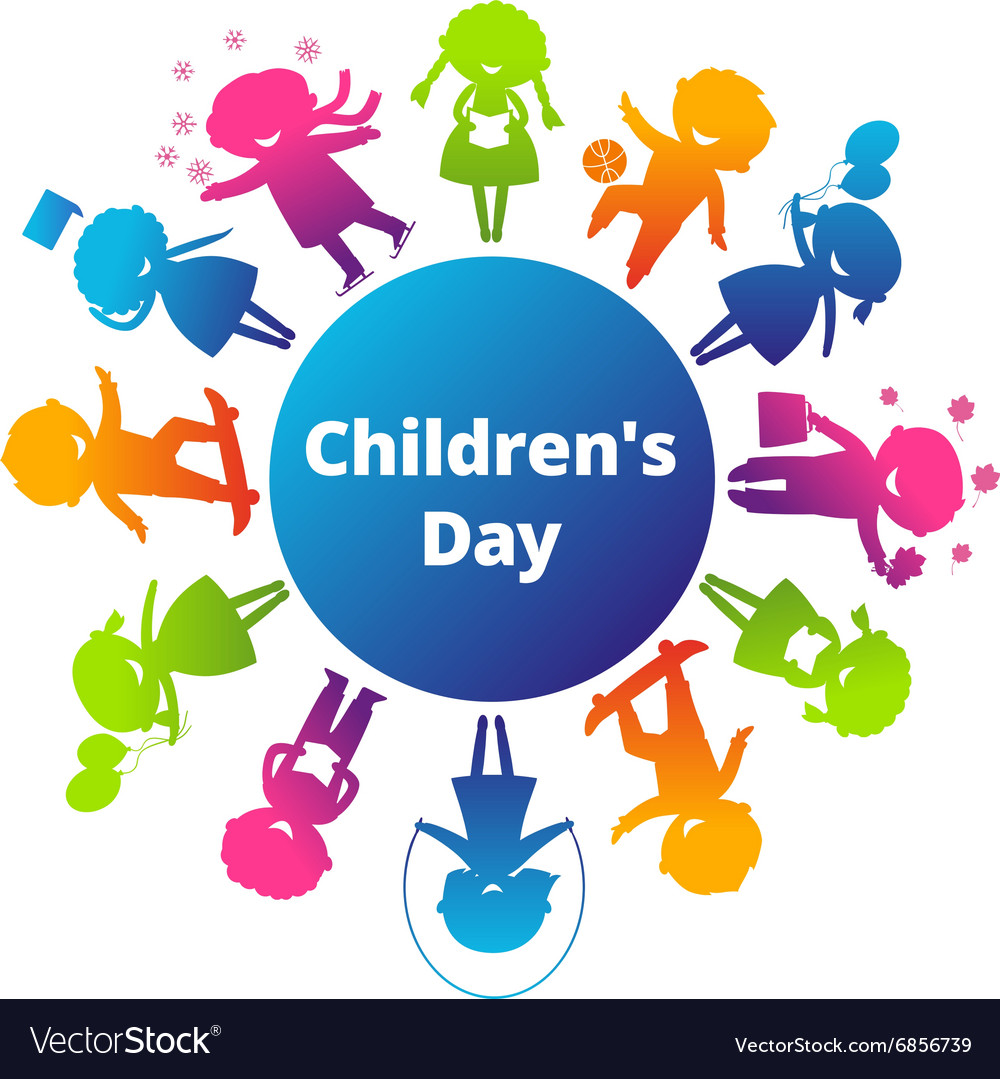 Children's Day Cartoon Silhouette Icon vector image