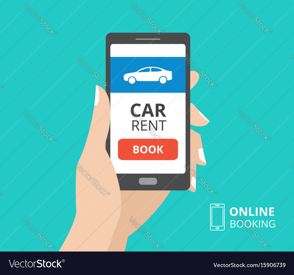 Hand holding smartphone with book button and car