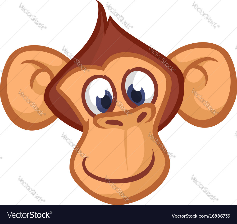 happy cartoon monkey head royalty free vector image rh vectorstock com cartoon monkey with m on head cartoon monkey head drawing